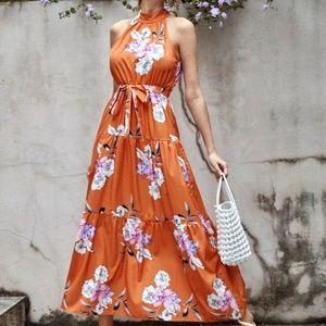 Boho Gypsy Floral Halter Ruffle Maxi Dress Orange